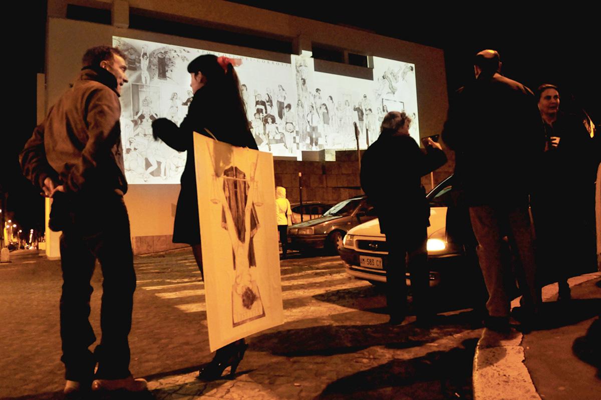 <span>Apoteosi dei corrotti</span> - Proiezione del fregio sull'Ara Pacis, 9 ottobre 2008
