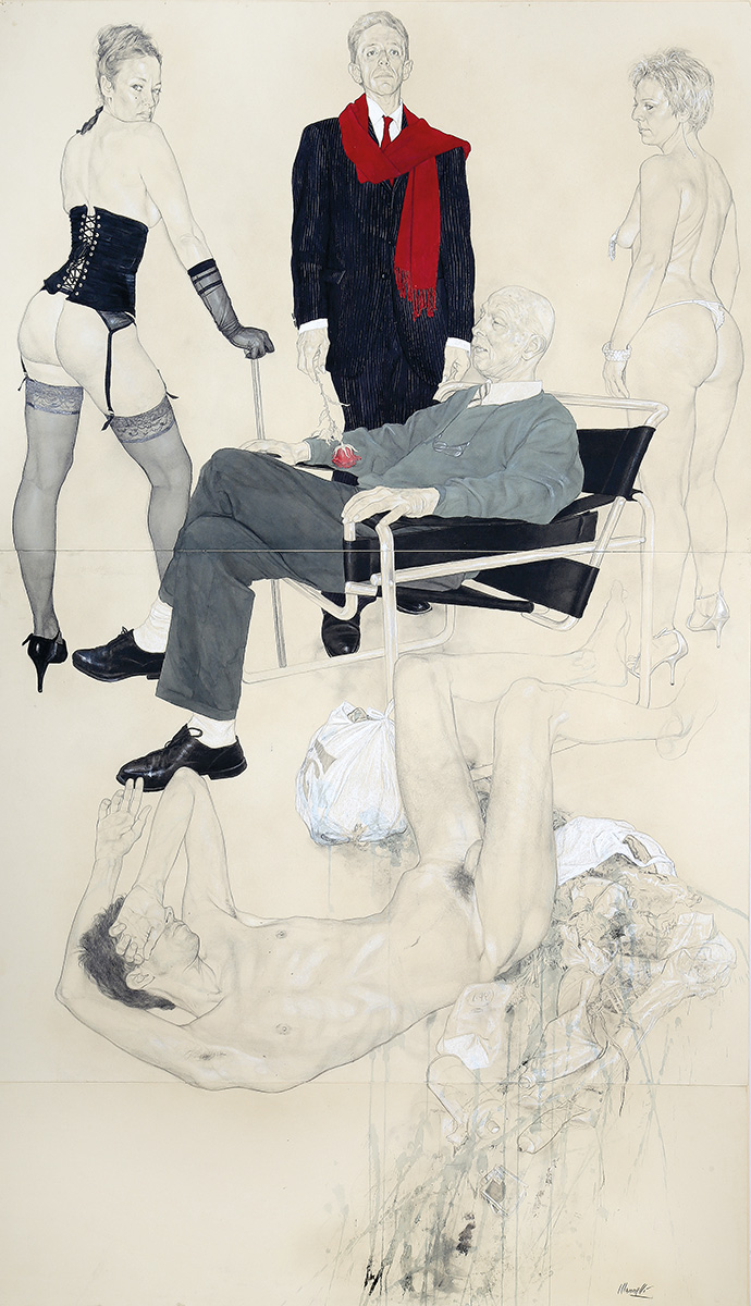 <span>Camorresque</span> - Grafite, acquerelli e pastelli su carta applicata su tavola, 101,5x170cm, 2012