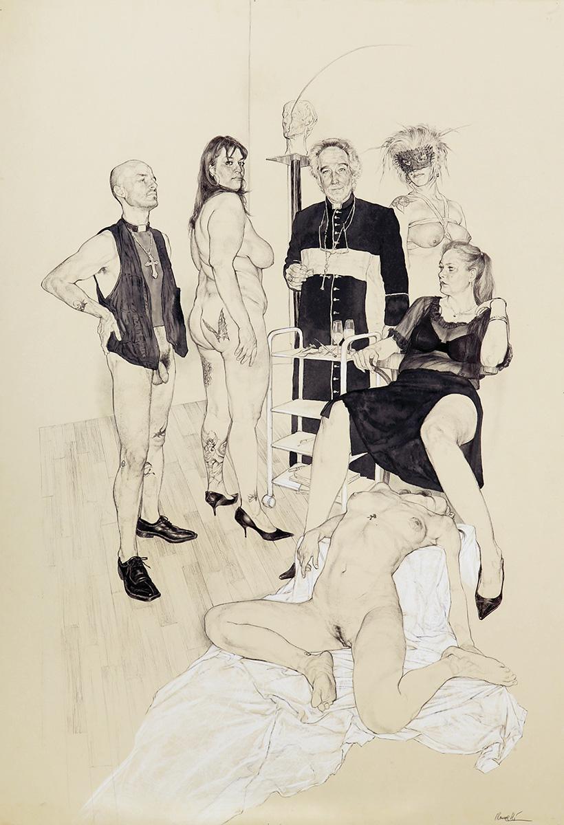 <span>Cena a palazzo</span> - Penna, acquerelli e pastelli su carta applicata su tavola, 71x101,5cm, 2009