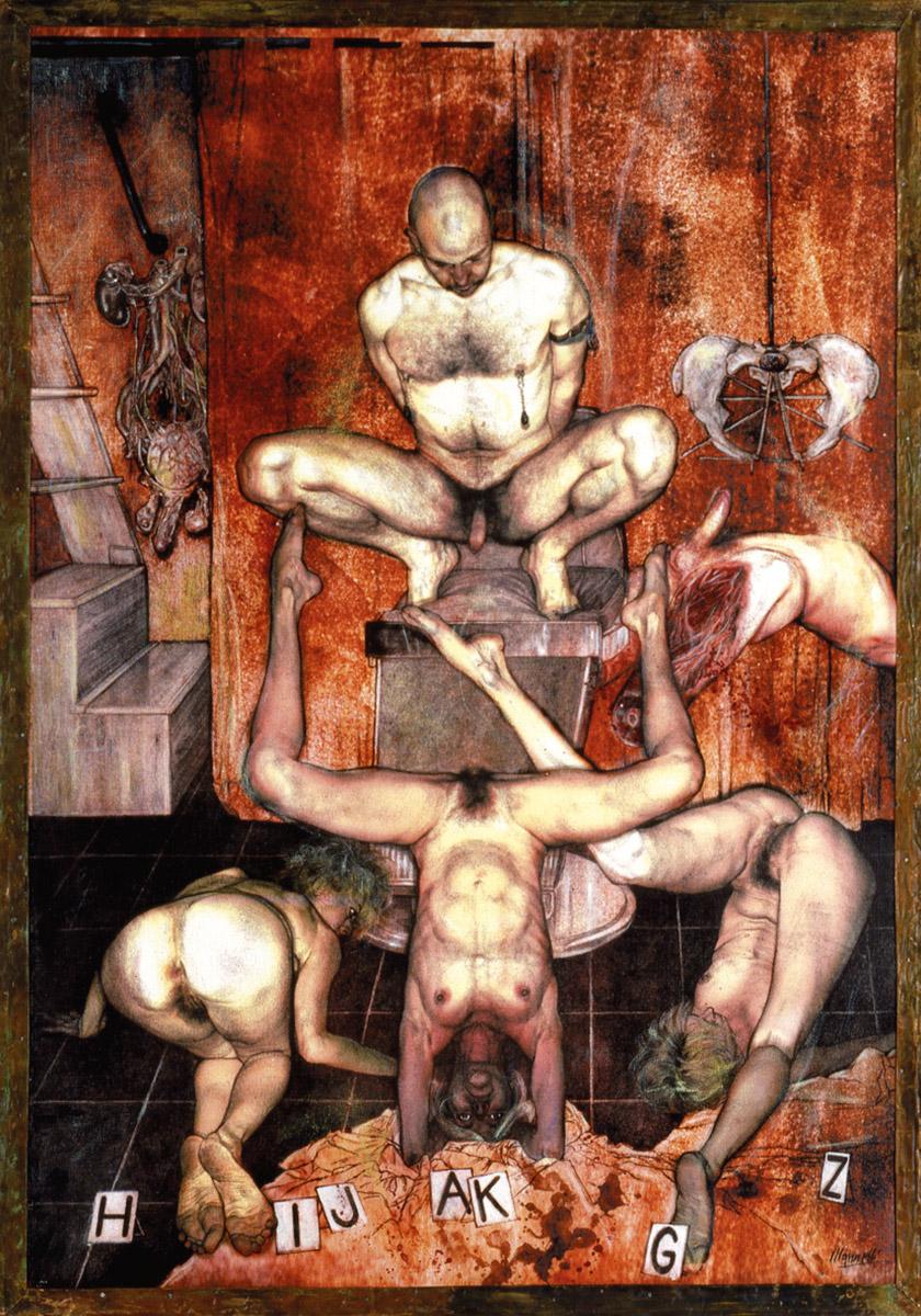 <span>Dammi figli</span> - Tecnica mista su tela, 72x51 cm, 2001