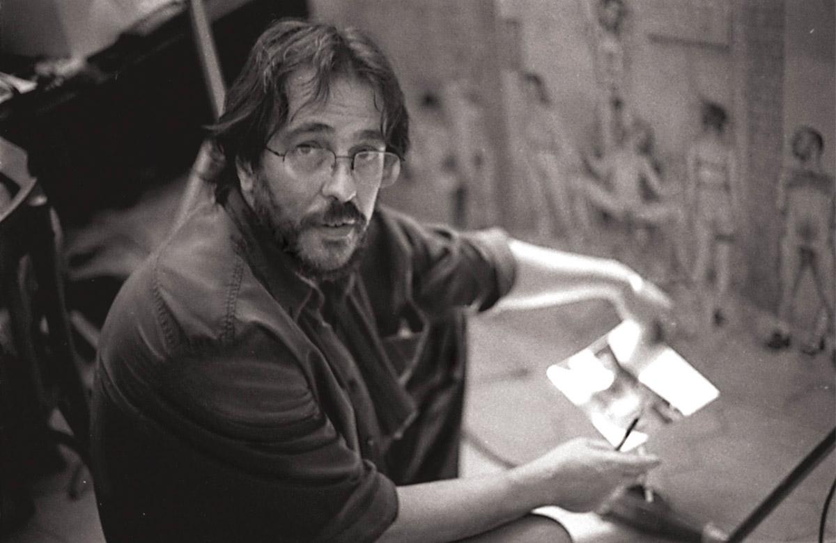 """Riccardo Mannelli in studio durante la realizzazione del ciclo """"Commedia in Z.E.R.O."""""""