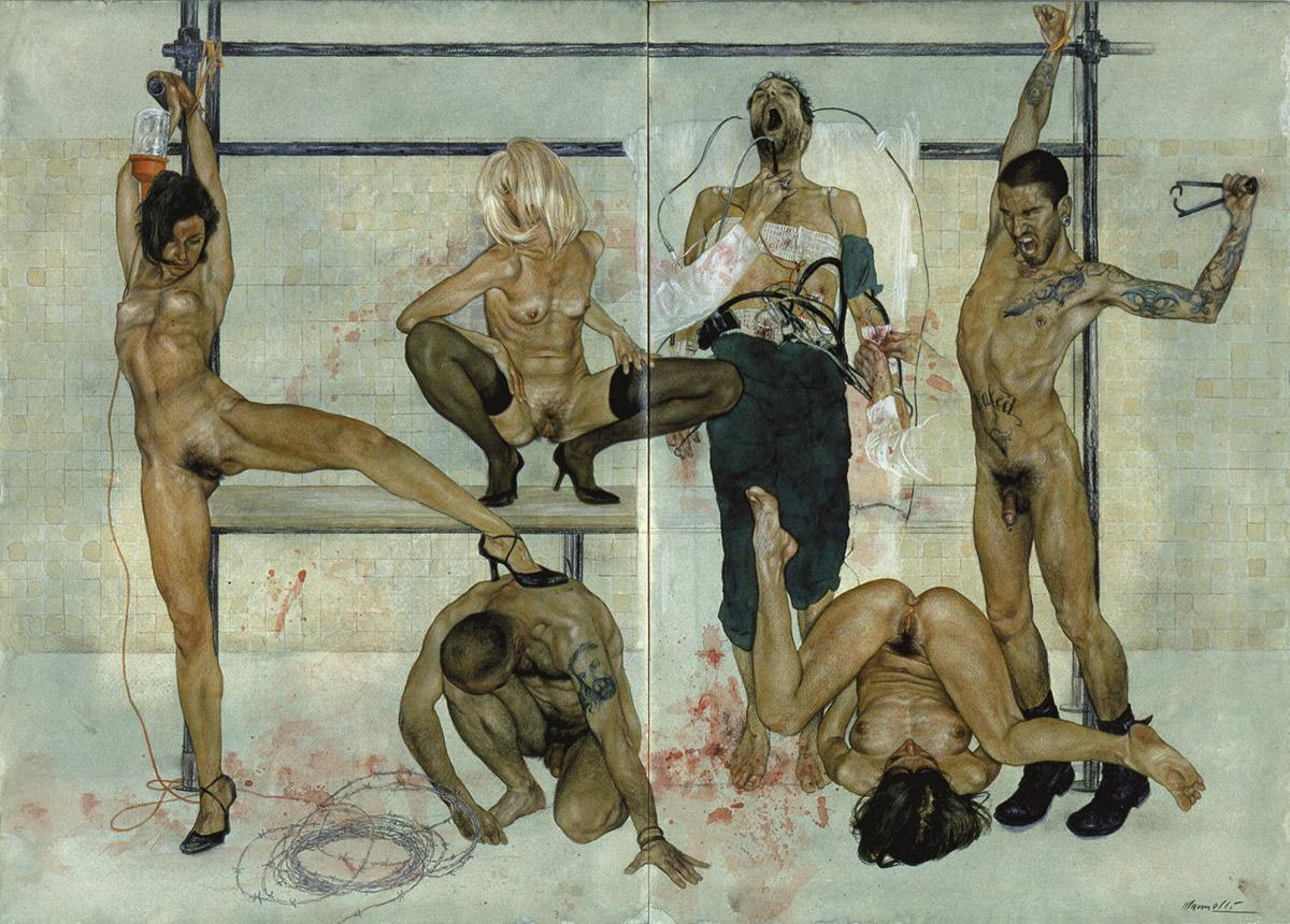 <span>Il gabinetto di Narcisio</span> - Tecnica mista su carta, 71x50,5cm, 2002