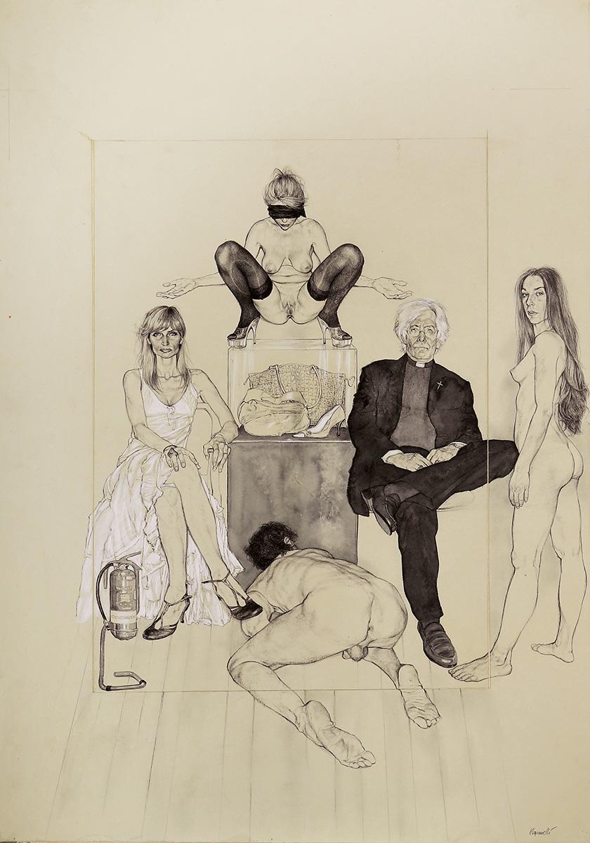 <span>Innocenza e giustizia</span> - Penna, acquerelli e pastelli su carta applicata su tavola, 71x101,5cm, 2009