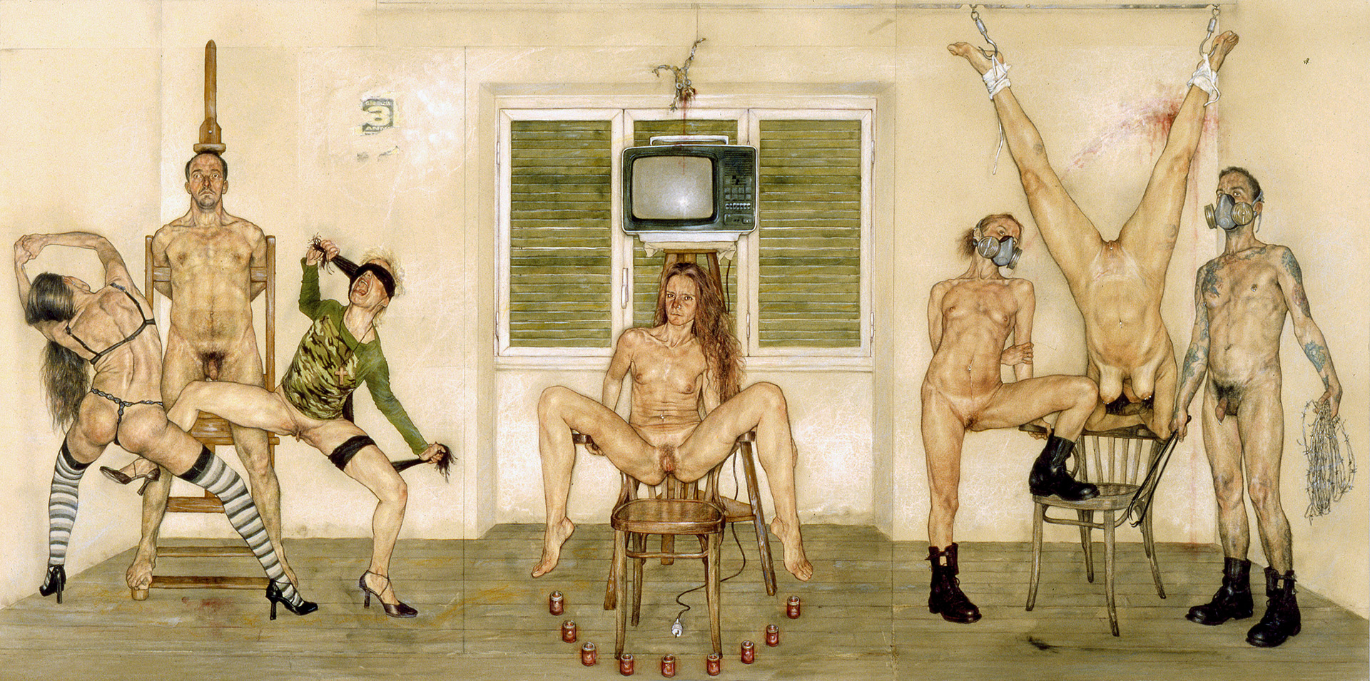 <span>Liturgia dell'audience</span> - Tecnica mista su carta applicata su tavola, 128x63cm, 2003/2004