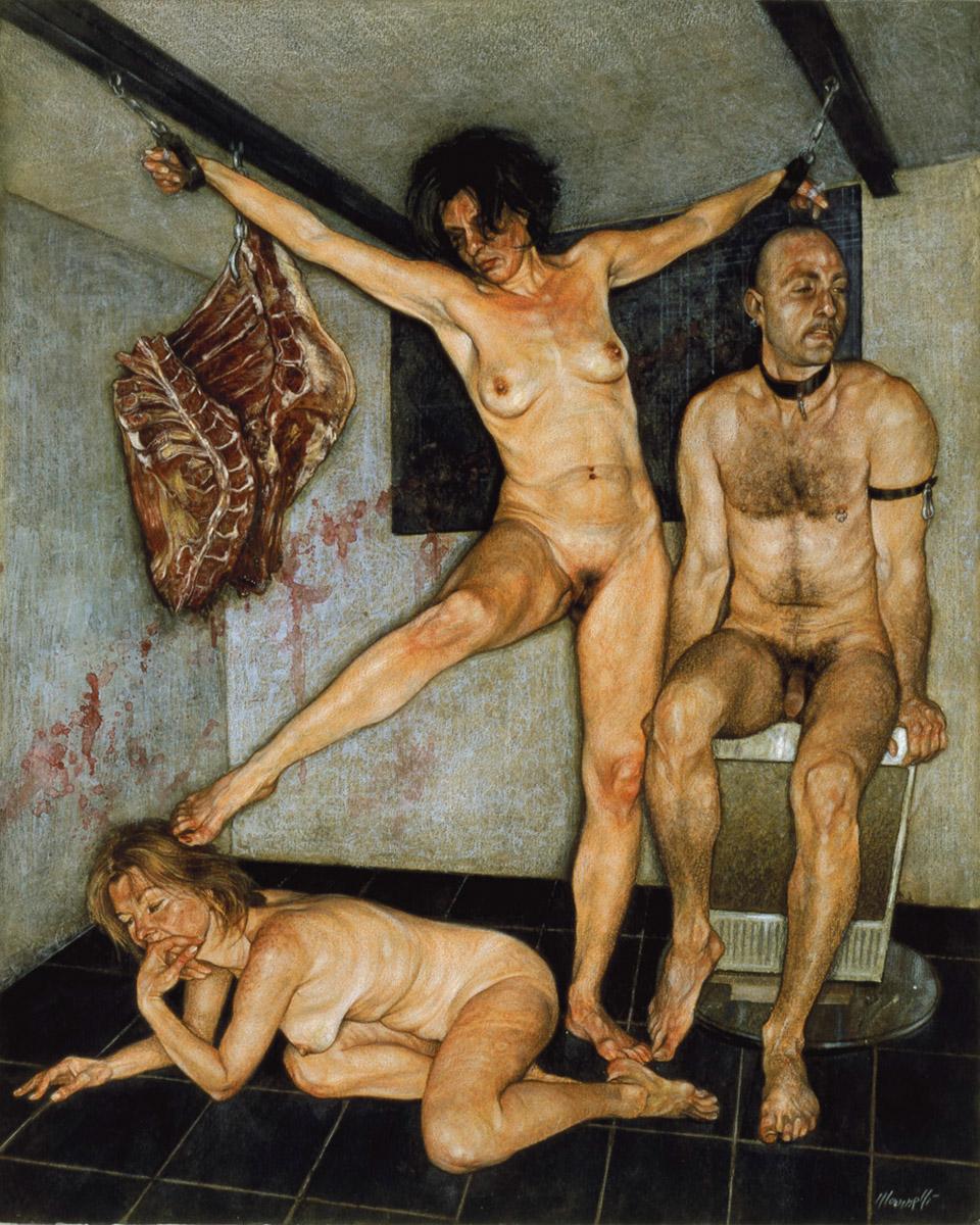 <span>Mangiare sangue</span> - Tecnica mista su carta, 35x44cm, 2002