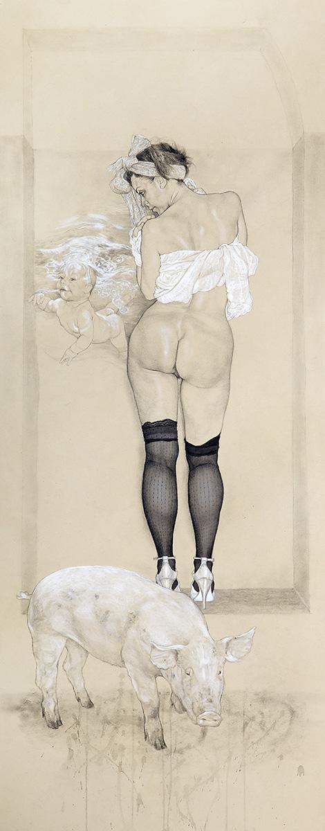 <span>Pornovitality</span> - Penna, acquerelli e pastelli su carta applicata su tavola, 40,5x101,5cm, 2009