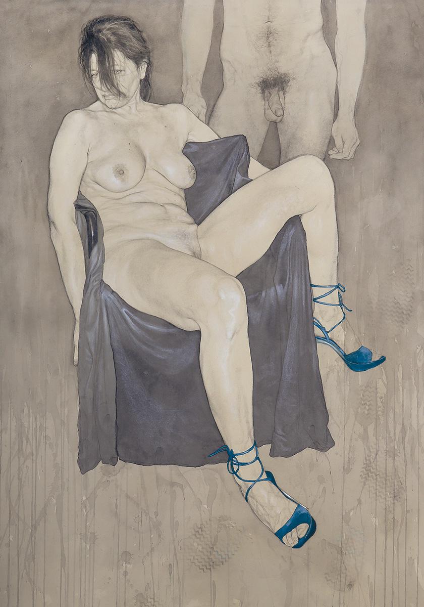 <span>Presenze passeggere</span> - Grafite, acquerelli e pastelli su carta applicata su tavola, 71x101,5cm, 2014