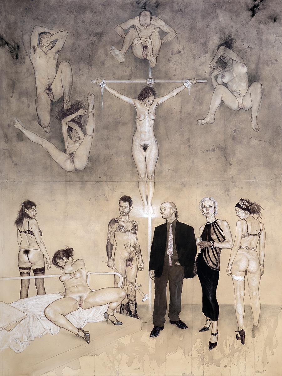 <span>Si esclude la matrice terrorista</span> - Penna, acquerelli e pastelli su carta applicata su tavola, 101,5x134,5cm, 2007