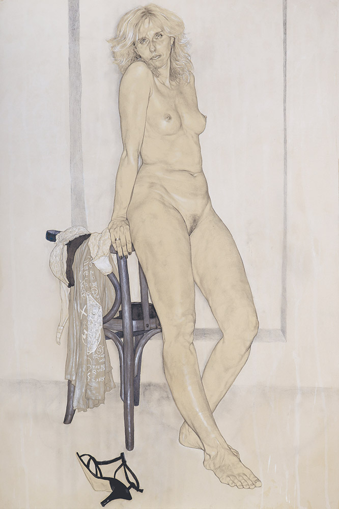 <span>Ammazzami. (sono una donna) C.</span> - Graphite, watercolors and pastels on cotton applied on canvas, 40x28""