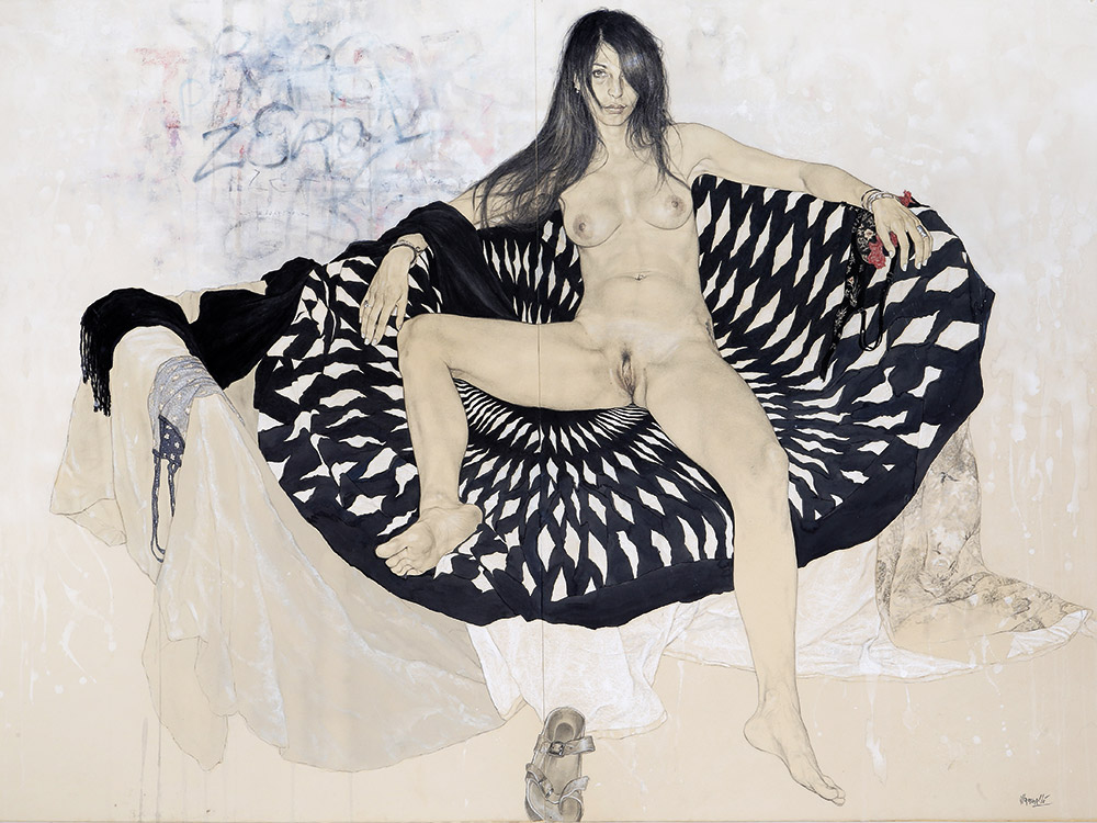 <span>Ammazzami. (sono una donna) V.</span> - Graphite, watercolors and pastels on cotton applied on canvas, 40x56""